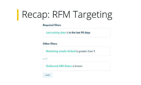 RFM Targeting Example Hubspot